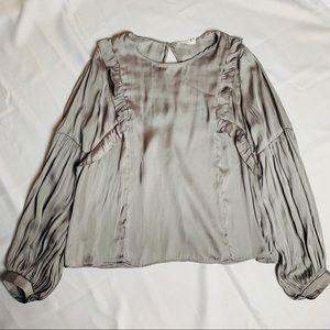 Lush gray silver ruffle long sleeve shirt medium